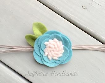 Baby Headband, Felt Flower Headband, Newborn Headband, Infant Headband, Baby Flower Headband, Flower Headband, Baby Headband Set