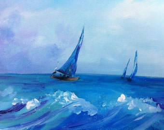 Sailboats Acrylic Painting