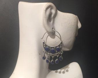 Vintage Lapis Hoops...Sterling Silver Earrings...Handmade Vintage Earrings...Ethnic...Hippie...Gypsy...Gift...1970s...Vintage Shop