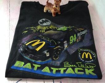Vintage NASCAR Shirt Bill Elliott Bat Man Bat Attack t-shirt 94 Race car McDonald's Racing Team Logo NASCAR Shirt