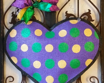 Mardi Gras festive burlap door hanger decoration