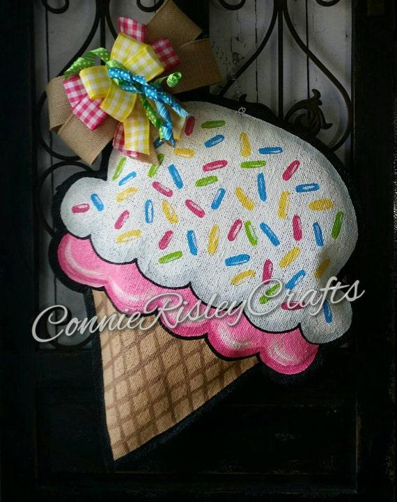 Ice Cream Cone Burlap Door Hanger Decoration And Wreath