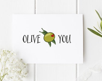 Olive You Card Funny Romantic Card For Boyfriend / Girlfriend / Card for friend / Or Anyone Special