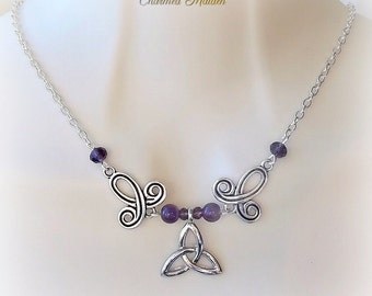 Amethyst Triquetra Necklace, Renaissance Necklace, Medieval Necklace, Pagan Necklace, Celtic Necklace, Celtic Jewelry, Wiccan, Wicca, Purple