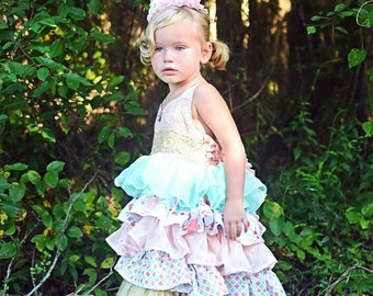 Karleigh Ruffle Dress, Easter Dress, Tea party dress, Pink and gold birthday dress, girls dresses, party dress, pageant dress, toddler dress