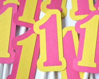 Sunshine Number Birthday Cupcake Toppers Hot Pink & Yellow By The Dozen 12
