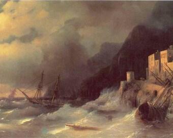 1960 Ivan Aivazovsky Иван Айвазовский  Lithograph of Storm on the sea Буря на море (1850)