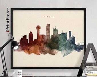 Dallas Skyline Poster Dallas Watercolour Print Texas