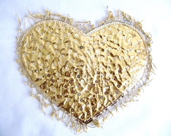 Gold Lame Heart with Gold Sequins Heart Applique Embellishment DIY Craft