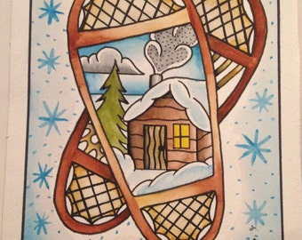 Snow Shoe Cabin Painting