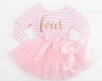 Fourth birthday outfit, 4th birthday dress, Long Sleeve, tutu dress with gold letters and pink tutu for girls 4th birthday