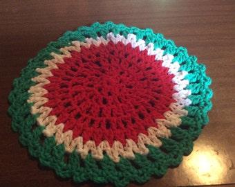 Watermelon inspired Crocheted Dishcloth