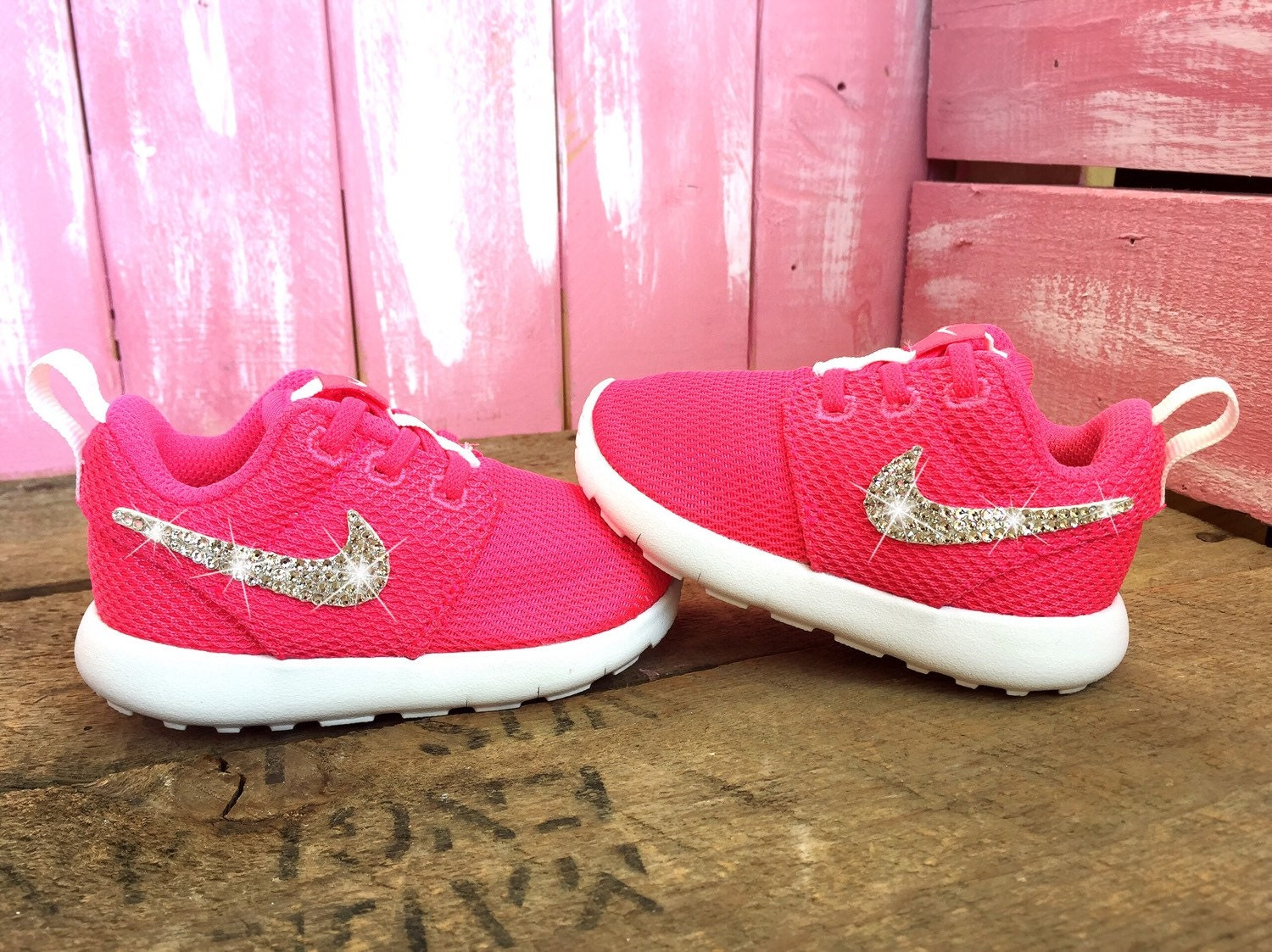 ... buy online 9a31e 8f0ea Blinged Pink Toddler Nike Roshe One Customized  With Swarovski Crystal Rhinestones Bling ... 508d0aa507