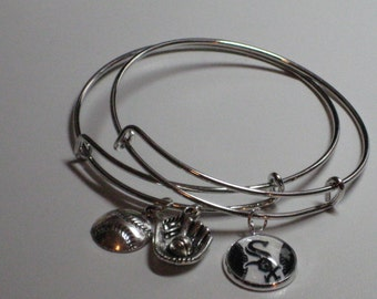 Chicago White Soxs Bracelets (Set of 2), Silver Plated, White Soxs Image Charm, Silver Baseball Charm, Silver Glove & Ball Charm