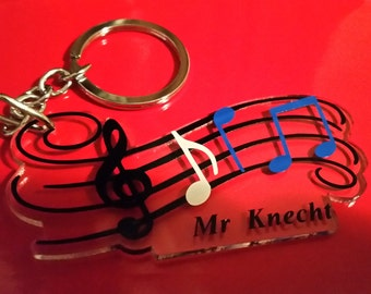 Music note key chain/bag tag
