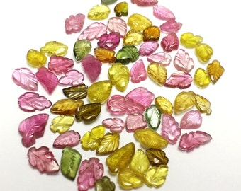today sale offer 65 Piece Lot Multi Tourmaline Carving Leaves