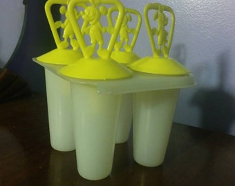 Vintage Mickey Mouse Popsicle Maker, Vintage Kitchen Popsicle Maker, Kitschy Kitchen, Yellow Popsicle Maker