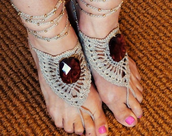 Boho Barefoot Sandals/Crochet Barefoot Lace Sandals with amber/Beach Wedding/Bohemian fashion Jewelry/Elegant foot jewel/Wedding jewel