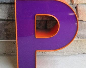 "Reclaimed Letter ""P"" in Purple with Orange Trim"