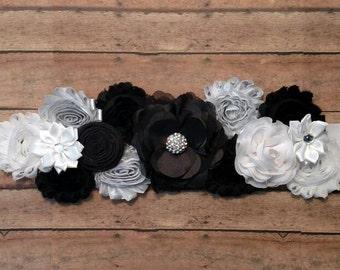 Black, white and silver maternity sash, maternity belt, maternity photo shoot prop