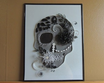 SOLD ....QuillingKimStarcher, quillingwall art,quilling, paper quilling, Quilled Sugar skull