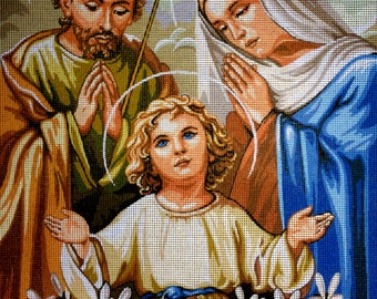 "Gobelin Tapestry Needlepoint Kit ""Holy Family"" hand embroidery printed canvas 143"