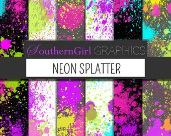 """Neon paint splatter Digital Paper: """"NEON SPLATTER"""" with bright, neon pink, purple, green, orange, yellow for cards, crafts, party"""