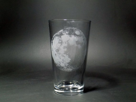 Moon Pint Glass - Lunar Beer Glass - Celestial Pint Glass - Man On The Moon Pint Glass - Astronomy Pint Glass - Astronomy Gift