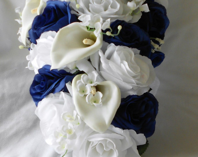 Cascade Bride bouquet royal blue and white roses lilies of the valley and callas 2 pieces