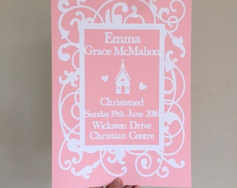 Personalized Christening Papercut wall art, gift for christening - gift for New baby - Birth Announcement papercut - personalised decor