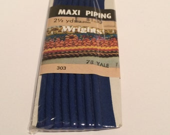 Yale Blue Maxi Piping 2 1/2 Yards 2.30m Wrights New Old Stock 1986 #303 #78