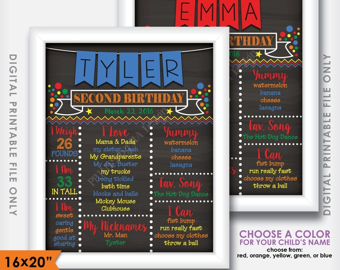 "Second Birthday Board Colorful Personalized Milestones, Vibrant Colors, Chalkboard Style PRINTABLE 8x10/16x20"" Custom 2nd B-day Stats Poster"
