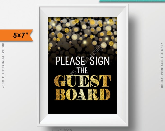 """Please Sign the Guest Board Sign, Birthday, Anniversary, Retirement, Graduation, Gold Glitter 5x7"""" Instant Download Digital Printable"""