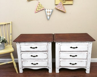 SOLD - Bedside Tables - White Distressed Nightstands
