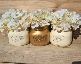 Gold Vases, Mason Jar Gold Vases, Shower Centerpiece, GOLD, CREAM, Gold Wedding Centerpiece, Mason Jar Flower Vases