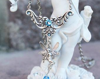 Fairy necklace, vintage necklace,fantasy necklace, swarovski necklace,  blue necklace, silver necklace