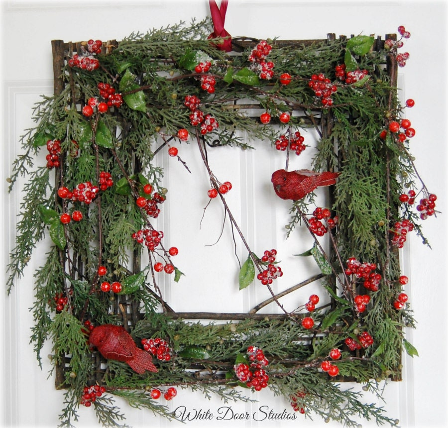 Rustic square christmas wreath front door wreath winter - Awesome christmas wreath with homemade style ...