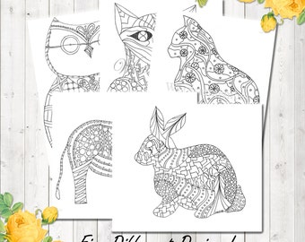 Adult Coloring Page Woodland Animals Printable Kids Book