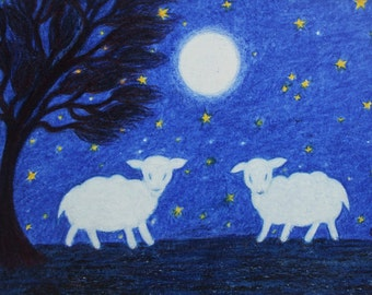 Sheep Card, Lamb Card, Children Card, White Sheep Card, Lamb Moon Card, Animal Card, Kids Card, Sheep Stars Card, Two Sheep, Art Card, Blank