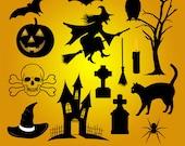 50% Off Sale - 16 Happy Halloween vectors / Clip art / Clipart / Instant digital download / Vector graphic