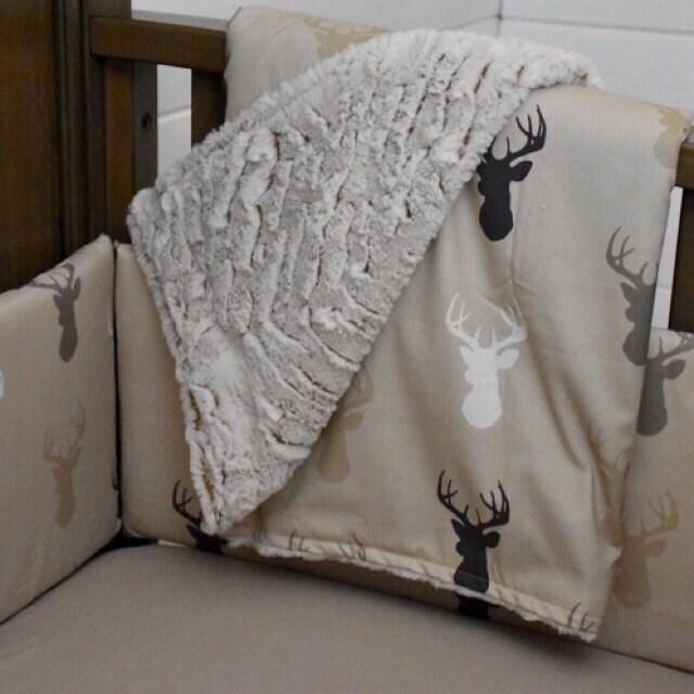 Minky Baby Blanket Deer Stag Head Black And Tan Midnight