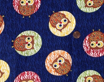 ARV Moon OWLS Fabric #71119, Pumpkins, Fall ~ 100% Cotton for Quilting and Crafts - Fat Quarter/FQ
