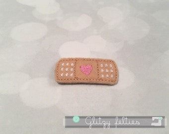 Heart Bandaid Feltie  - Set of 4 UNCUT -  Bandaid Medical Embroidered Felt Applique