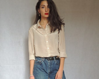 90s Vintage Checked Beige / Cream and White Long Sleeve Button Up Top Blouse