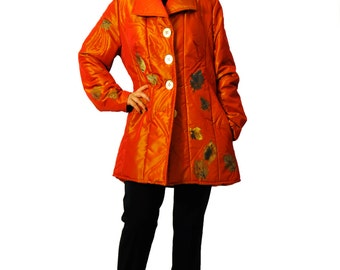 Orange warm coat/Hand painted leaves by gabyga/Taffeta orange coat/Winter woman coat/Handmade item/Pockets coat/Orange taffeta coat/C1355