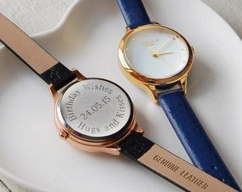 Personnalisé en cuir bracelet montre des petites dames ~ gravée mariage, anniversaire, cadeau d'anniversaire