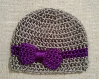 Crochet hat/beanie with ribbon and bow, newborn to adult