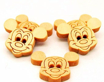 20pcs Wood Buttons Natural Mickey Mouse Buttons Wooden Sewing Button 19X16mm b05