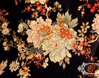 Cotton Linen Fabric Large Flower On Black Fabric Quilting Clothes Fabric 1/2 yard  C13