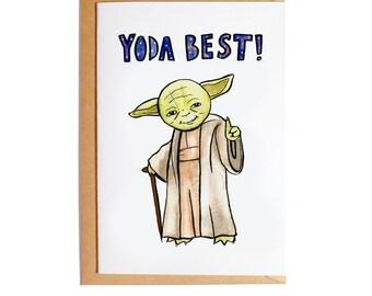Yoda Best! - A6 Blank Card - Watercolour - Pun - Star Wars